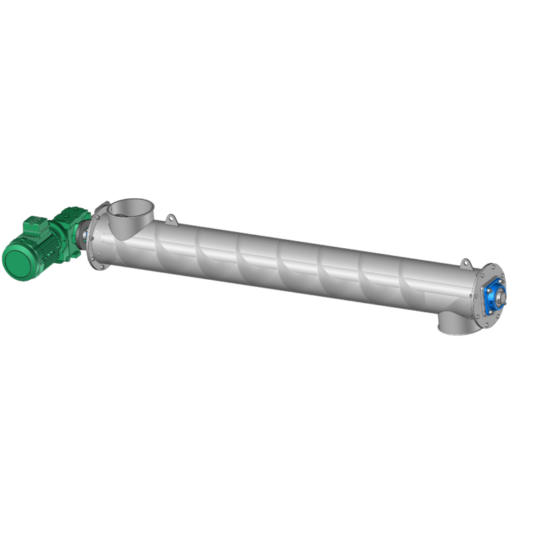 Screw feeder in a tube or auger